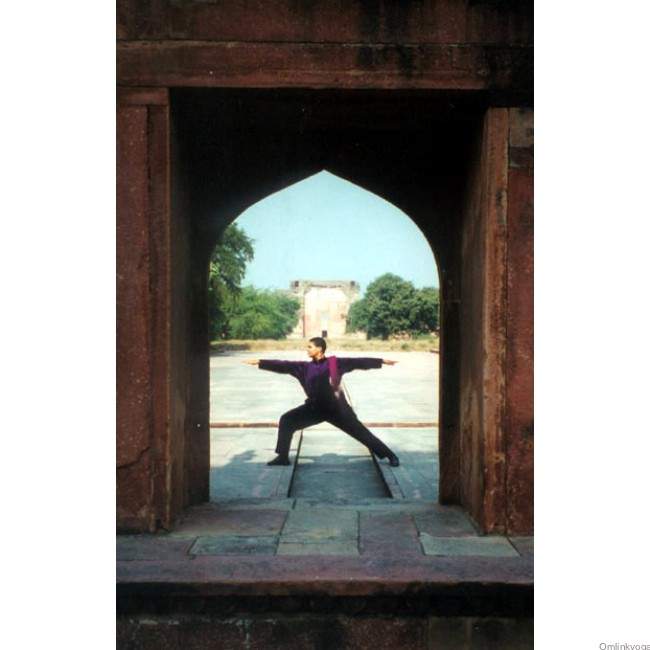Julie in posture, at Fatehpur Sikri, India (1999)